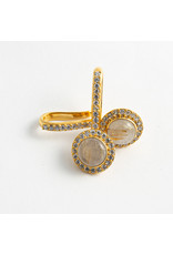 """Buddha Jewelry Organics Buddha Jewelry Organics yellow gold plate """"Brilliant"""" with CZ and rutilated quartz"""
