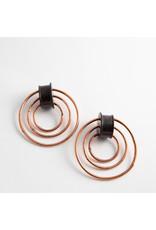 """Quetzalli jewelry Quetzalli 1"""" wood & copper 3 hoop double flared plugs"""