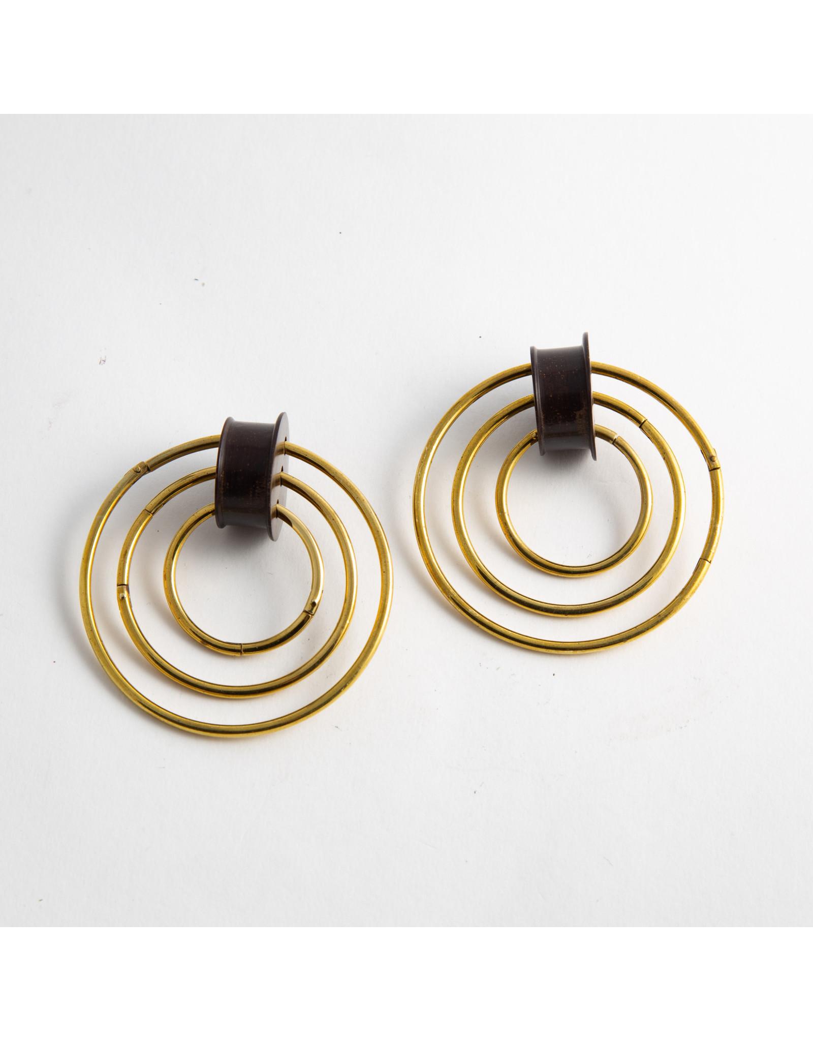 Quetzalli jewelry Quetzalli 1/2 ebony & brass 3 hoop double flared plugs