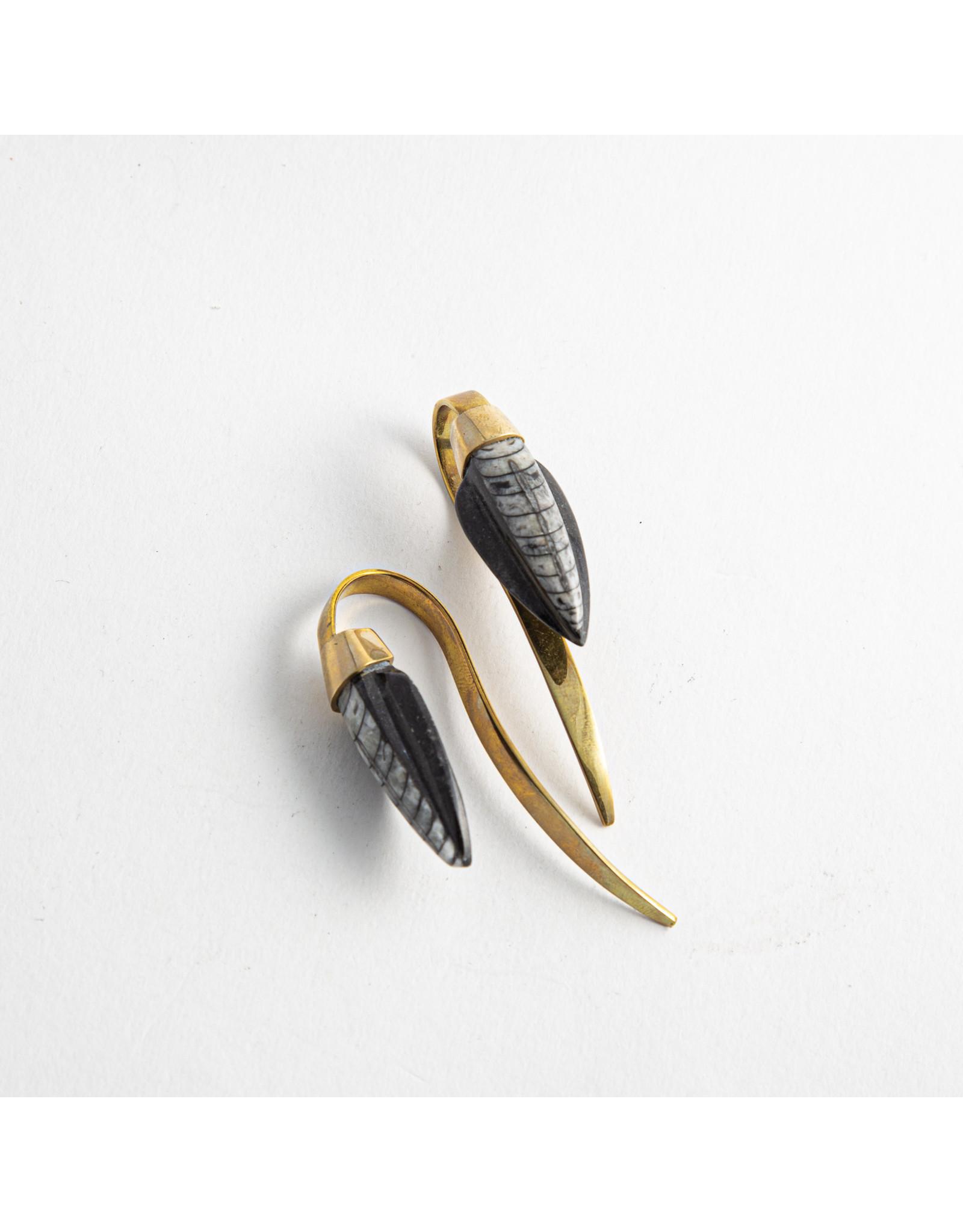 Quetzalli jewelry Quetzalli brass nautilus coil hanging design