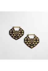 "Quetzalli jewelry Quetzalli brass ""Yantra"" geometric hanging design"