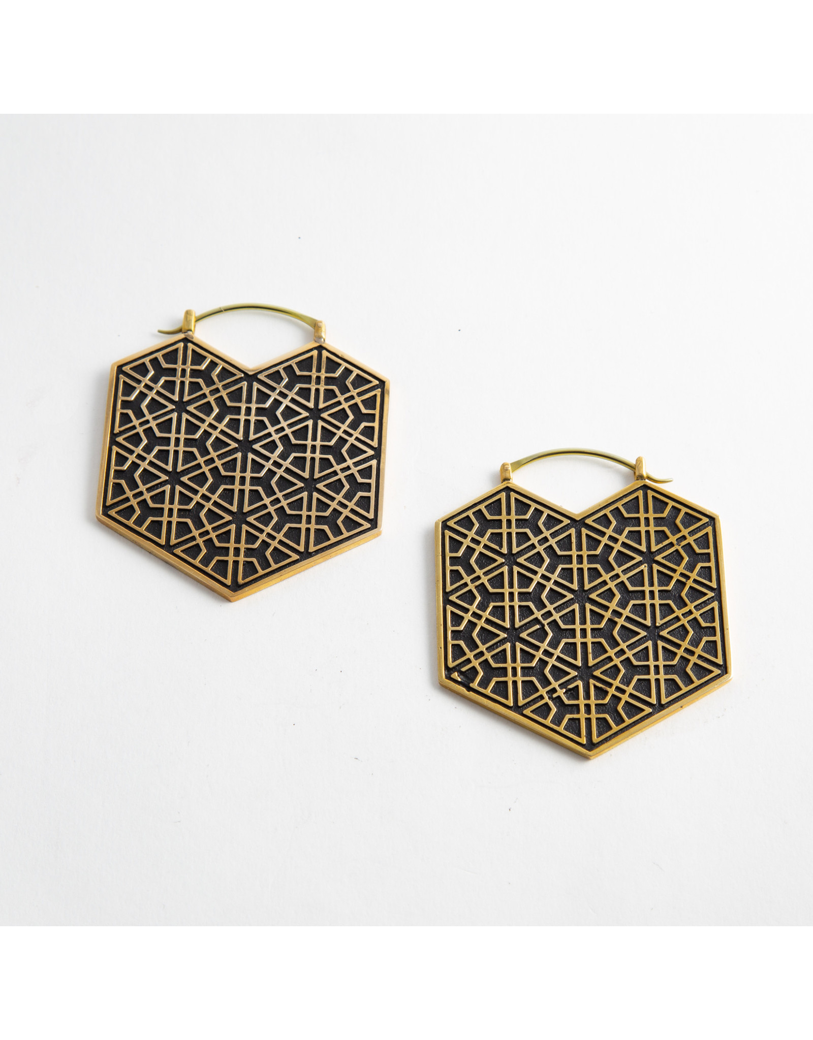 "Quetzalli jewelry Quetzalli brass ""Ikal"" hanging design"