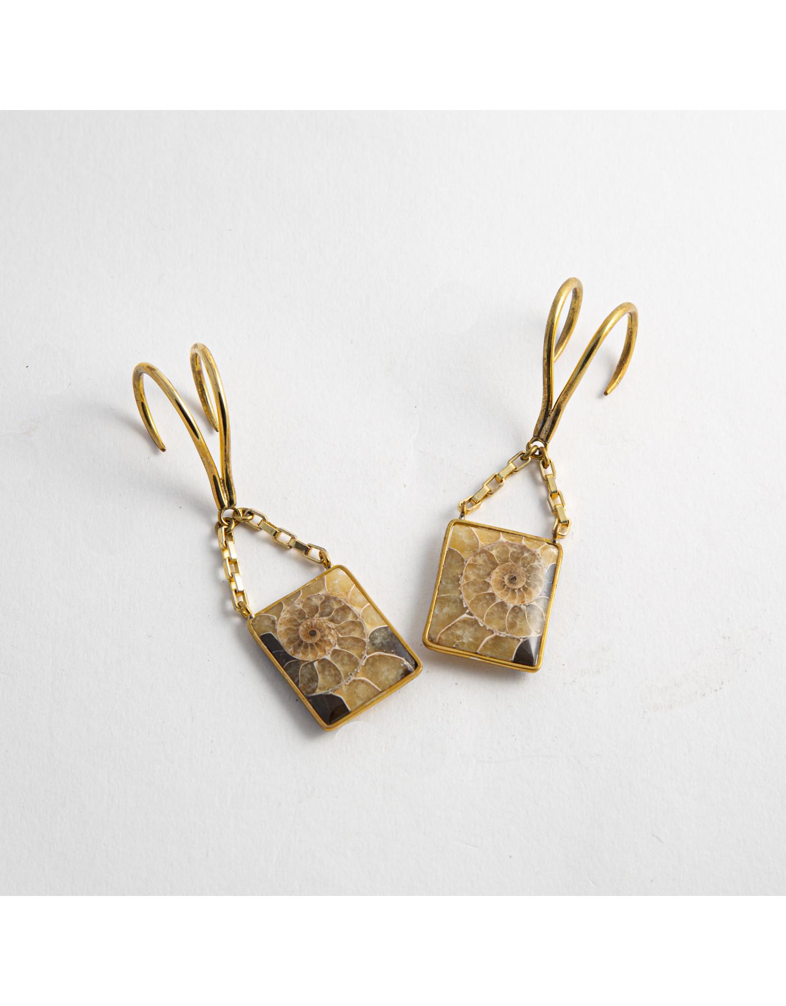 Quetzalli jewelry Quetzalli brass small ammonite slice hanging design