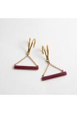 """Quetzalli jewelry Quetzalli brass """"Horizon"""" with genuine ruby hanging design"""