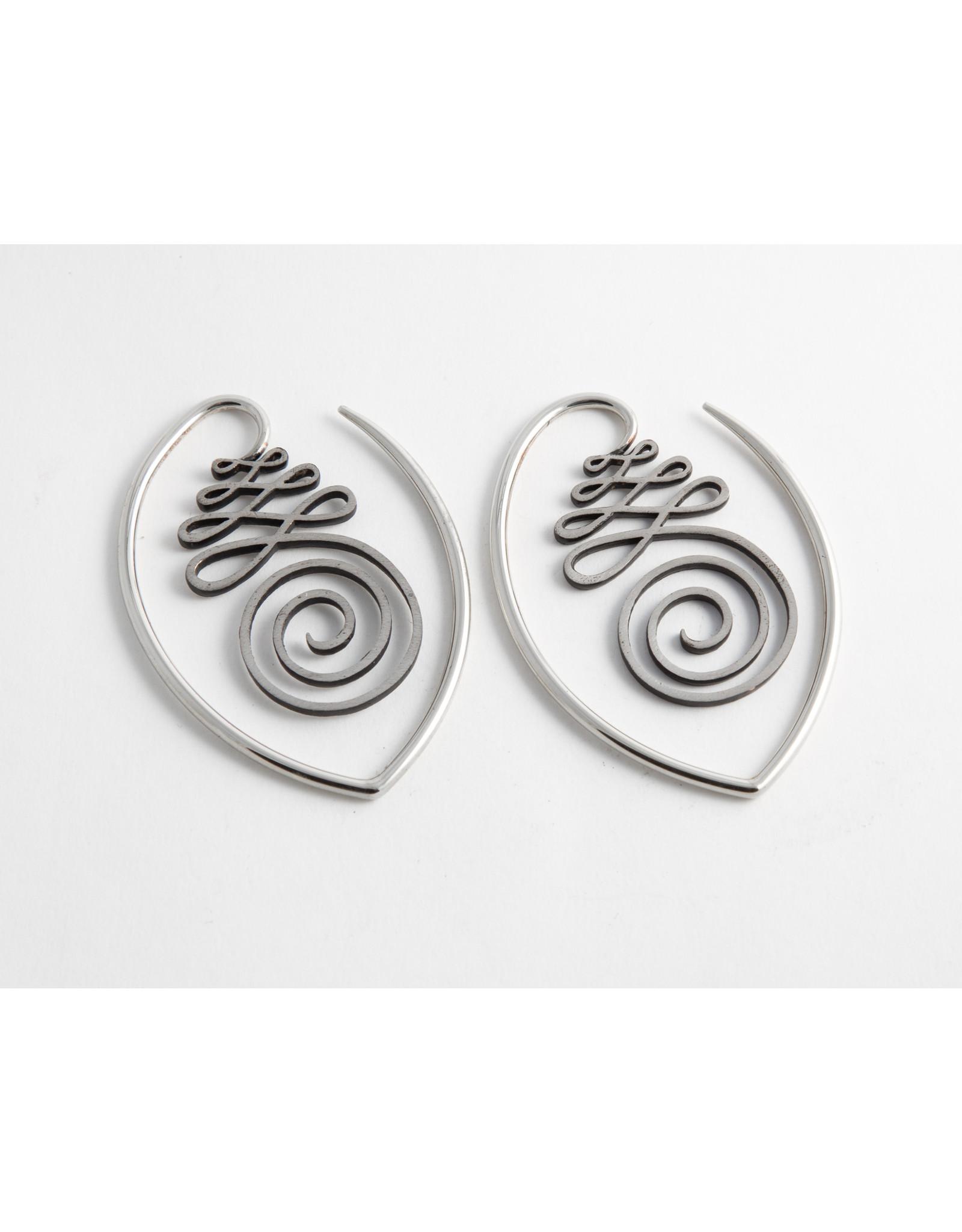 """Quetzalli jewelry Quetzalli white brass """"Unalome"""" hanging design"""