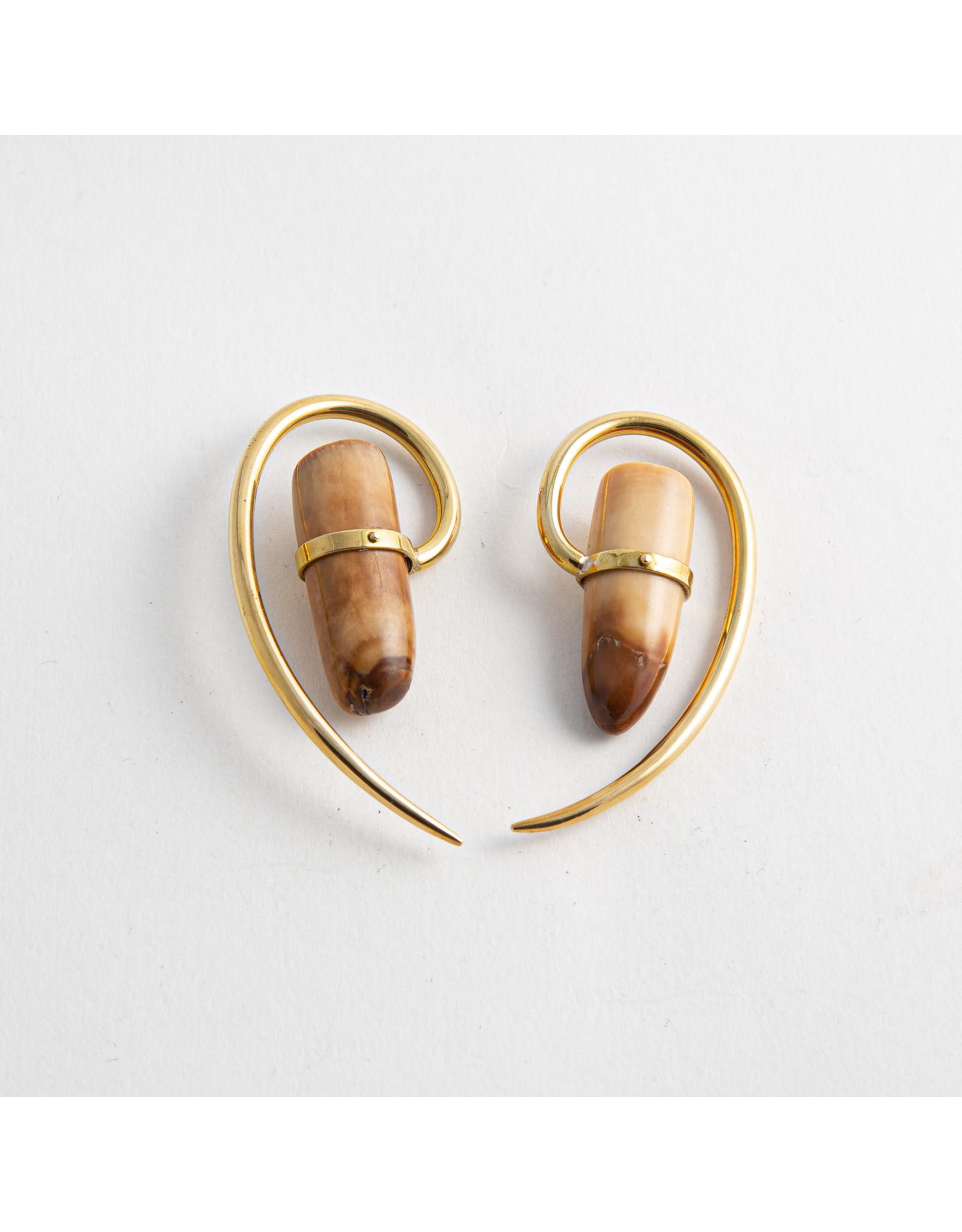 Quetzalli jewelry Quetzalli brass fossil walrus tooth hanging design