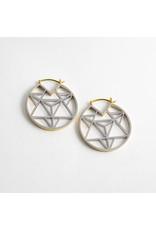 "Quetzalli jewelry Quetzalli white & yellow brass ""Tetrahedra"" rings"