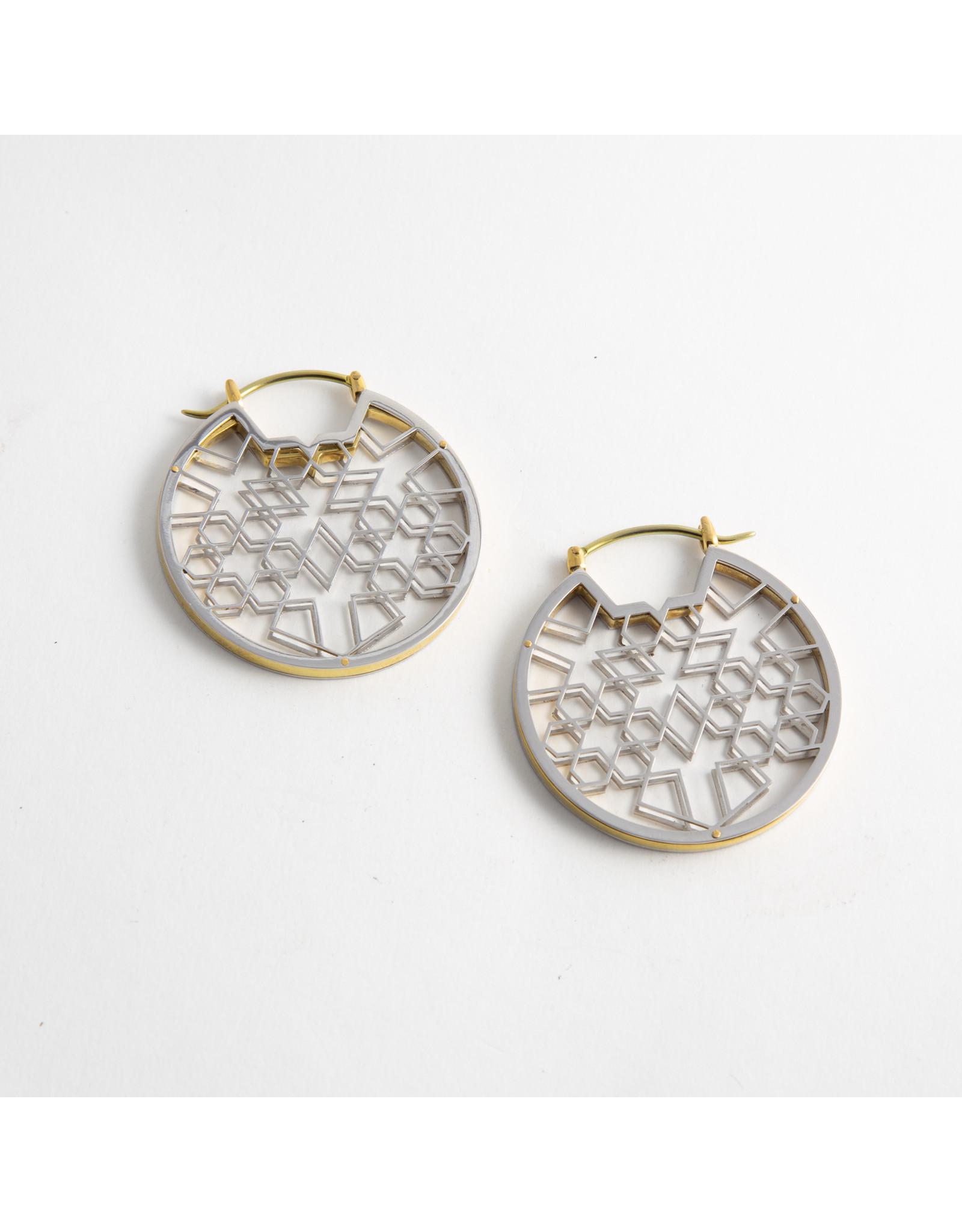 "Quetzalli jewelry Quetzalli white & yellow brass ""Expanding Light"" hanging design"
