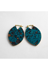 "Quetzalli jewelry Quetzalli brass & blue copper patina small ""Estella"" hanging design"