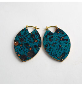 "Quetzalli jewelry Quetzalli Brass & Blue Copper Patina Small ""Estella"""