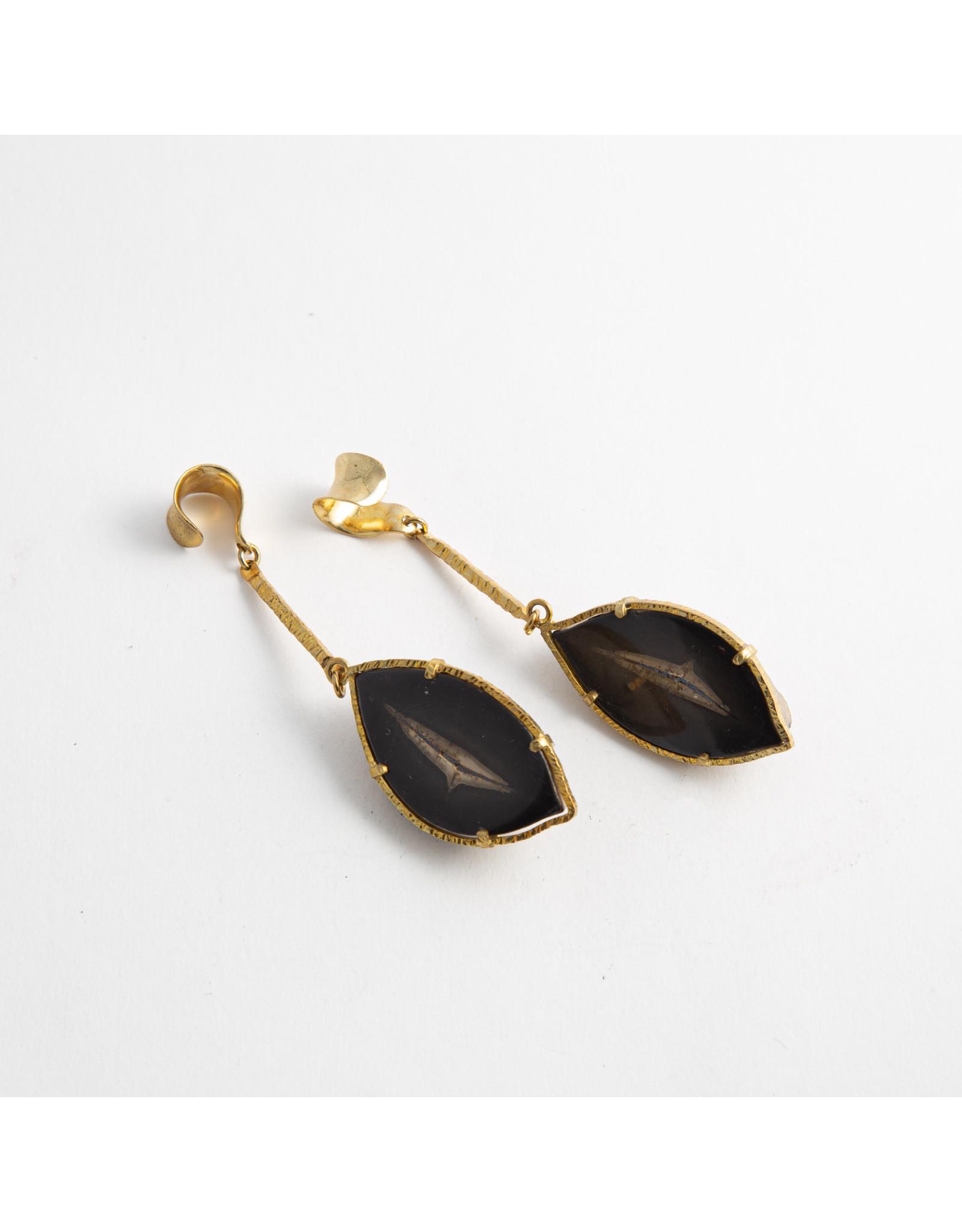"Quetzalli jewelry Quetzalli brass ""Seeds"" split geode hanging design"