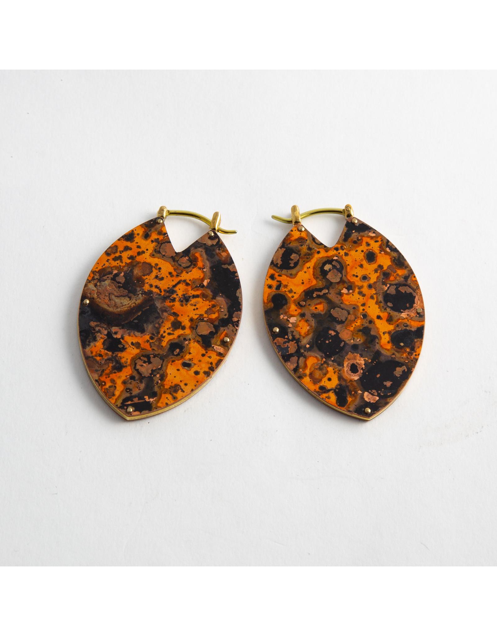 "Quetzalli jewelry Quetzalli brass & orange copper patina small ""Estella"" hanging design"