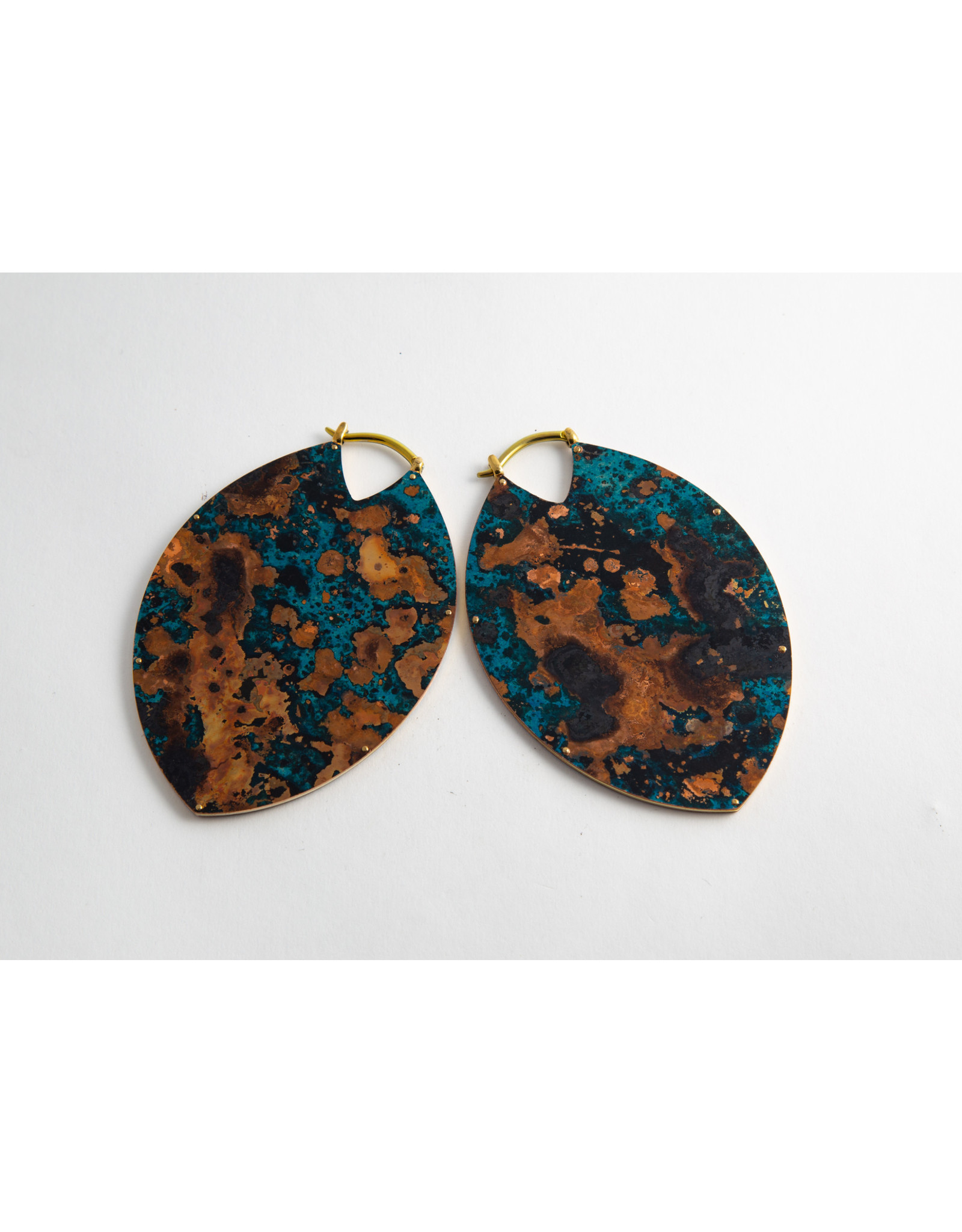 Quetzalli jewelry Quetzalli brass & blue copper patina large Estella hanging design