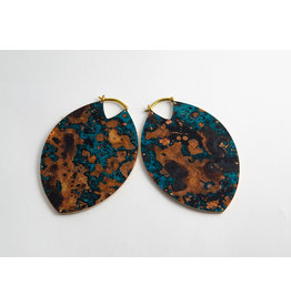 "Quetzalli jewelry Quetzalli Brass & Blue Copper Patina Large ""Estella"""