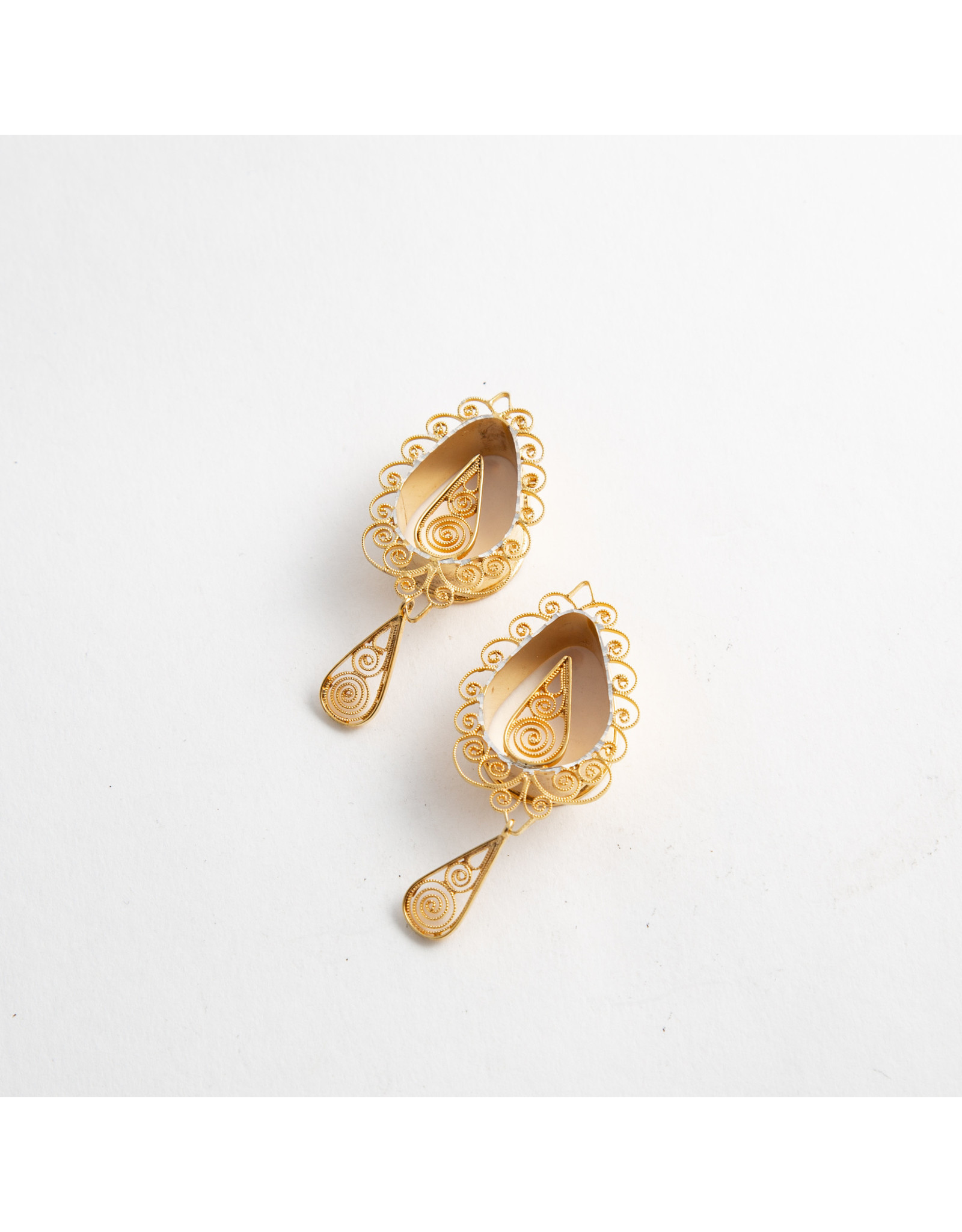 """Quetzalli jewelry Quetzalli 1/2 """"From The Heart"""" yellow gold plate teardrop double flared eyelet"""