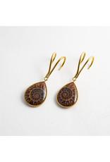 Quetzalli jewelry Quetzalli brass ammonite teardrop hanging design