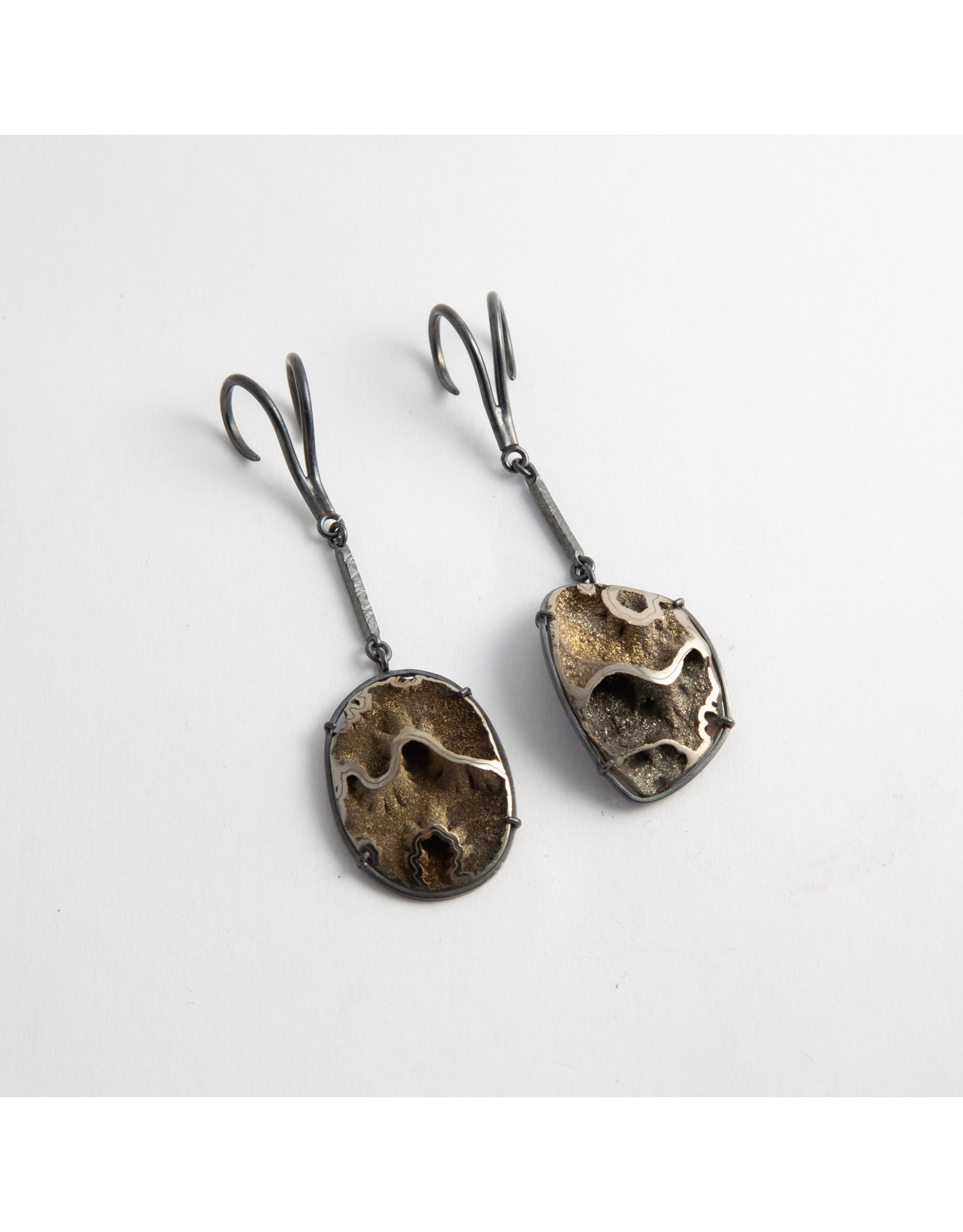 Quetzalli jewelry Quetzalli Oxidized silver & pyritized ammonite double hook hanging design