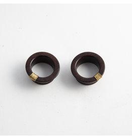 Quetzalli jewelry Quetzalli 1-1/8 Bloodwood & Brass wire wrap Wabi Sabi eyelets