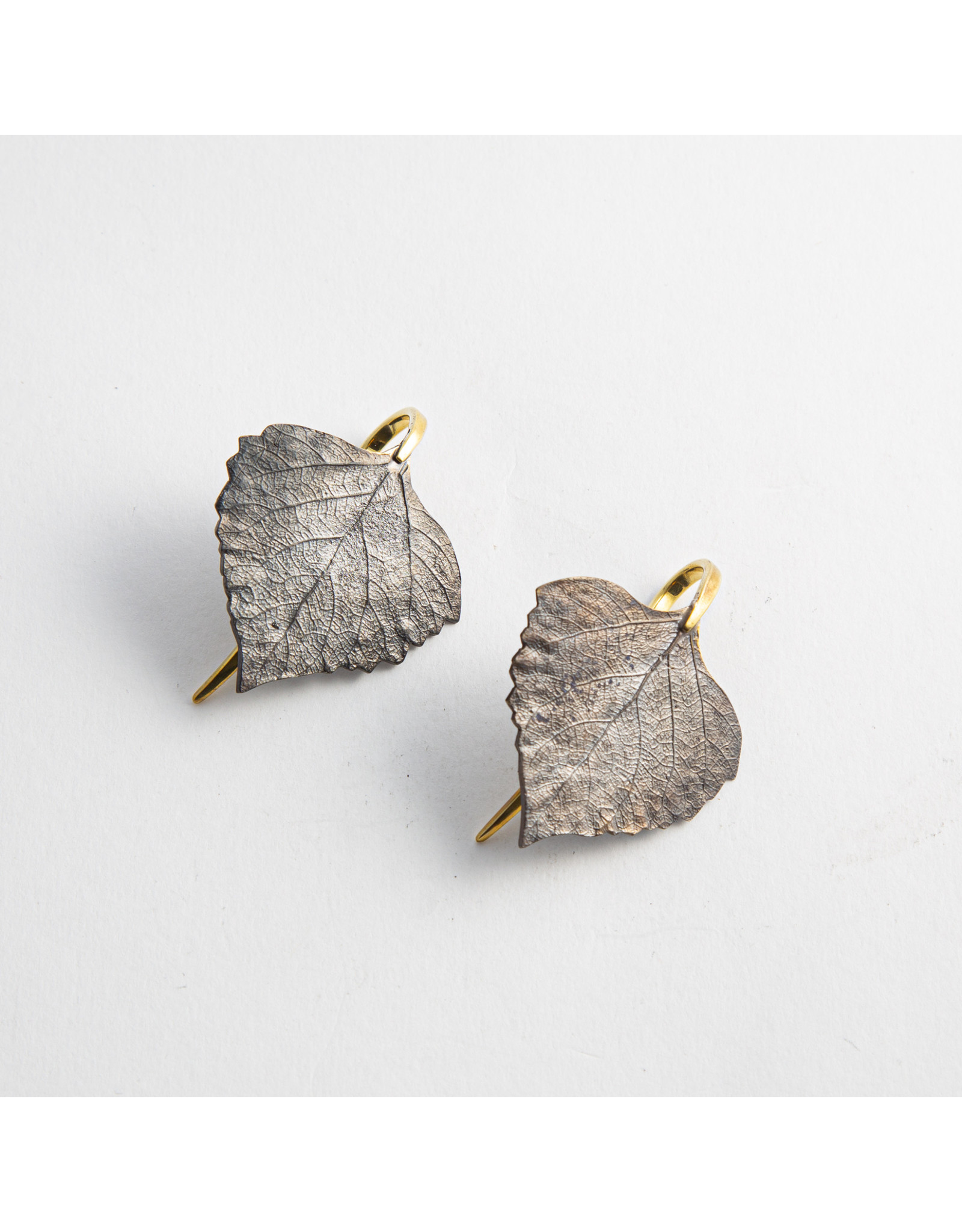 "Quetzalli jewelry Quetzalli brass ""Gaia"" leaf hanging design"