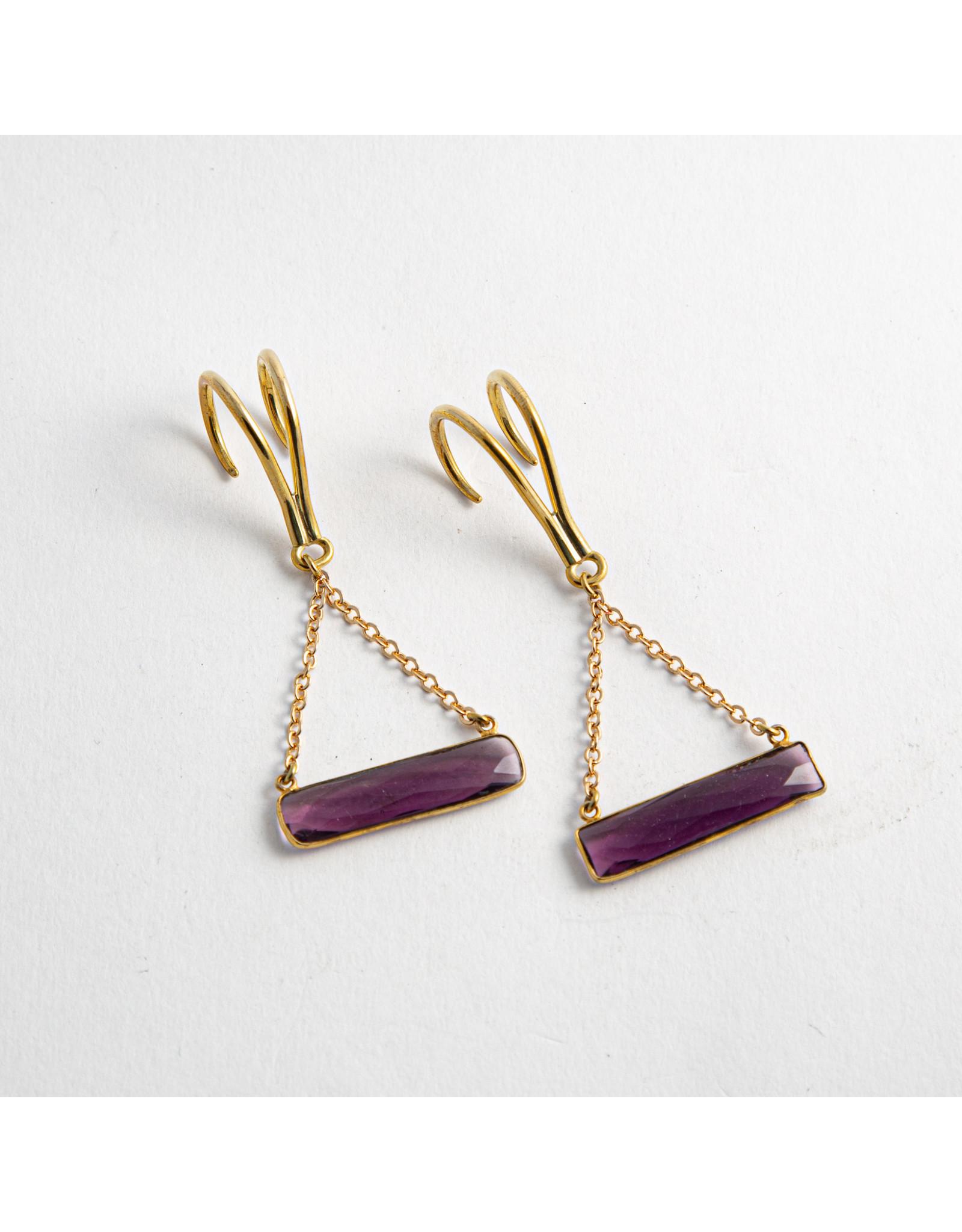 """Quetzalli jewelry Quetzalli brass """"Horizon"""" with amethyst hanging design"""