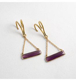 """Quetzalli jewelry Quetzalli Brass """"Horizon"""" with Amethyst"""
