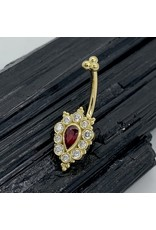 BVLA BVLA 14g 3/8 yellow gold Lucy with 5x3 pear cut AA ruby, five 2.0 VS1 white diamonds, and 2.0 tri bead cluster top J-curve