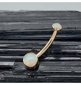 BVLA BVLA 14g Rose Gold Bezel-Set AA White Opal navel curve