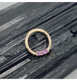 "BVLA BVLA 16g 11/32 Rose Gold ""Blaze"" with Amethyst Seam Ring"