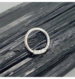 "BVLA BVLA 16g 11/32 White Gold ""Blaze"" with Diamonds seam ring"