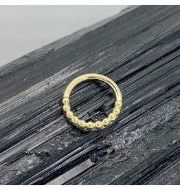 "BVLA BVLA 16g 11/32 Yellow Gold Beaded ""Oaktier"" seam ring"