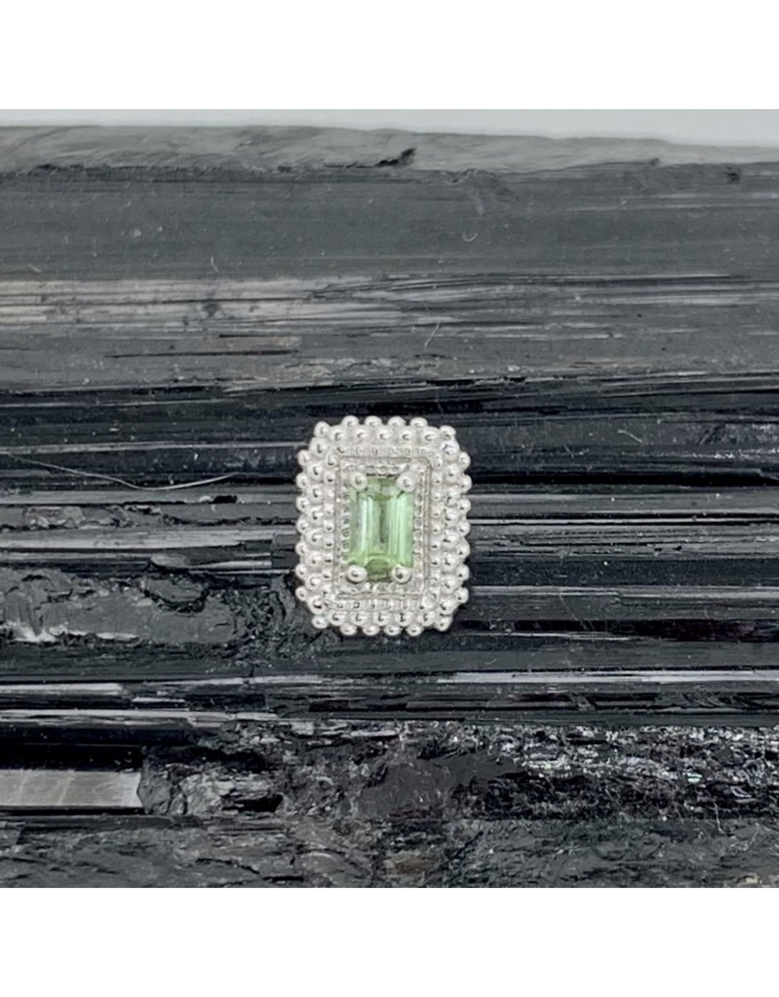 """BVLA BVLA white gold """"Afghan Baguette"""" with Seafoam Tourmaline threaded end"""