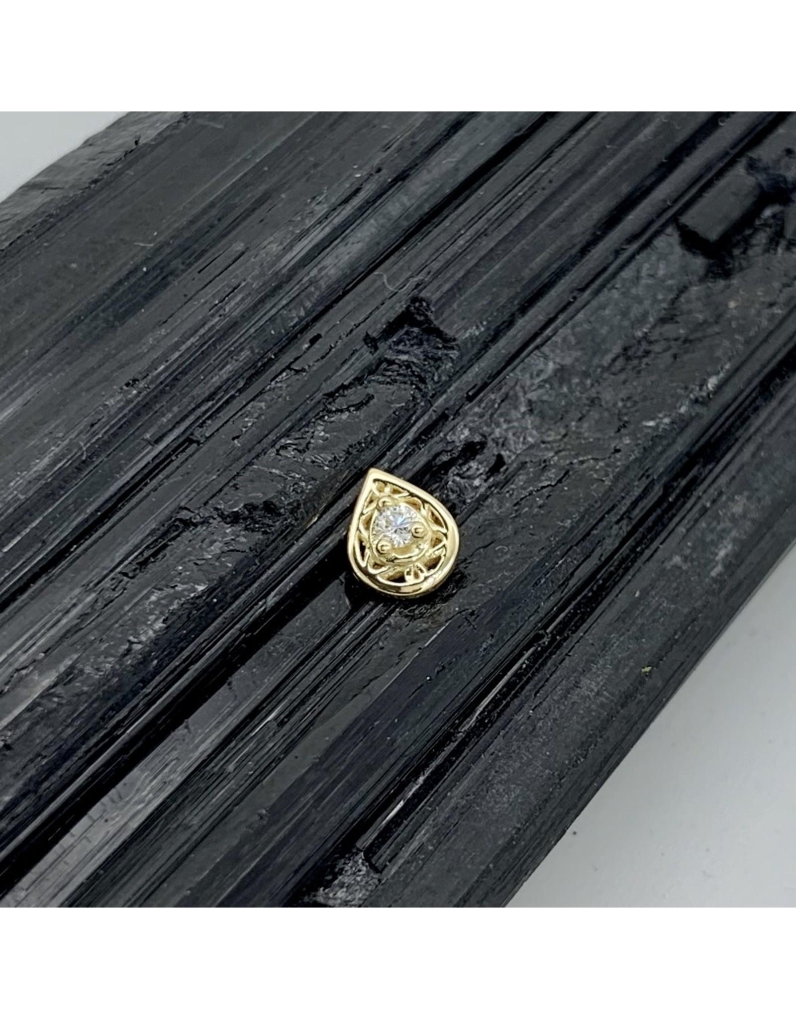 "BVLA BVLA yellow gold ""Kensington Pear"" with VS1 diamond threaded end"