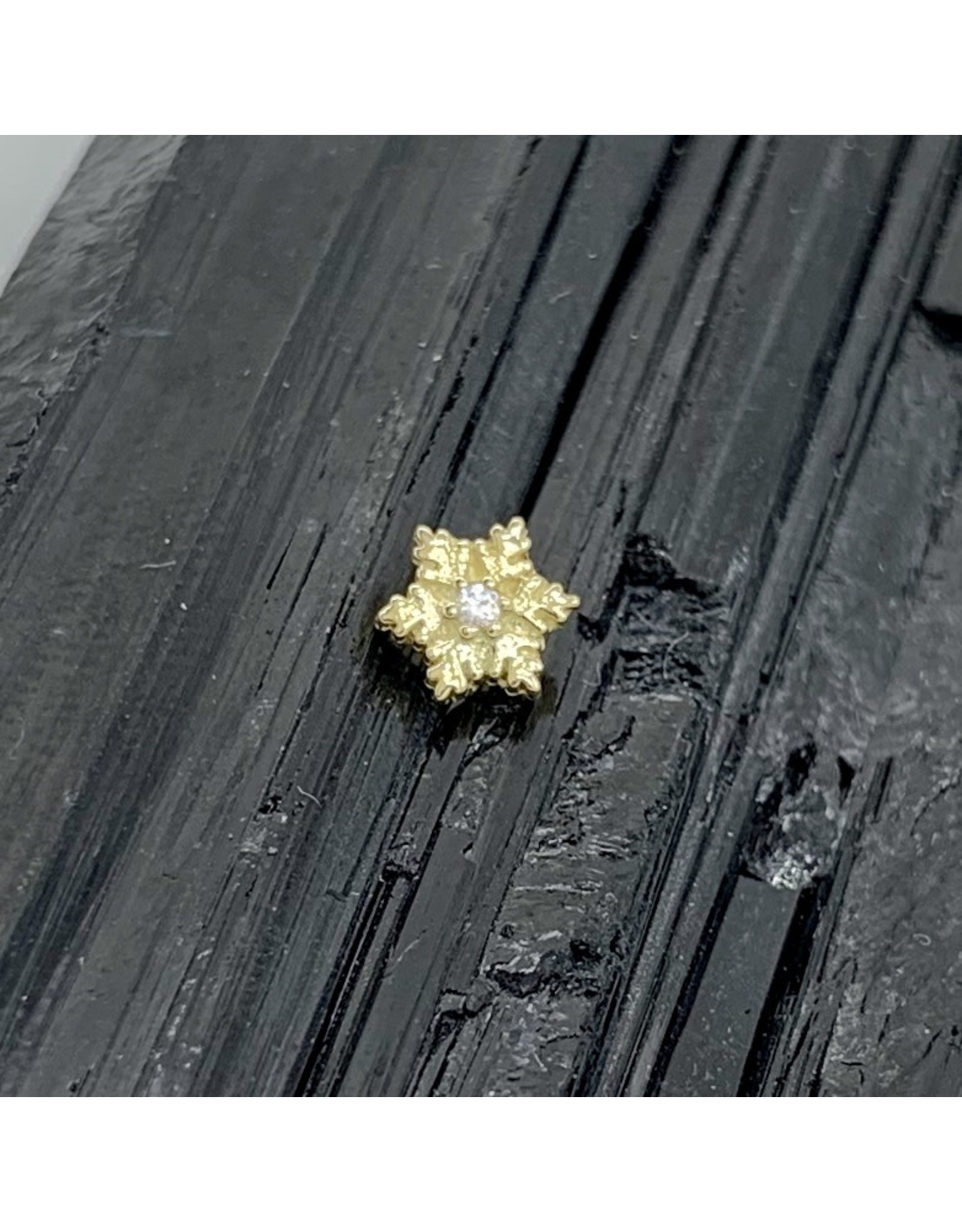 BVLA BVLA yellow gold snowflake with CZ threaded end