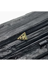 "BVLA BVLA yellow gold ""Tyleroni"" pizza slice with Black Diamond & AA Garnet threaded end"