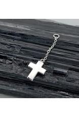BVLA BVLA White Gold Cross on 3/4 inch Platinum Chain