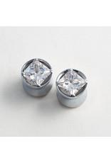 Reign Custom Design Reign 9/16 steel princess-cut CZ double flared plugs