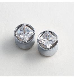 Reign Custom Design Reign 9/16 Steel Princess-Cut CZ Plugs