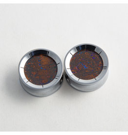 "Reign Custom Design Reign 1"" Steel Boulder Opal Plugs"