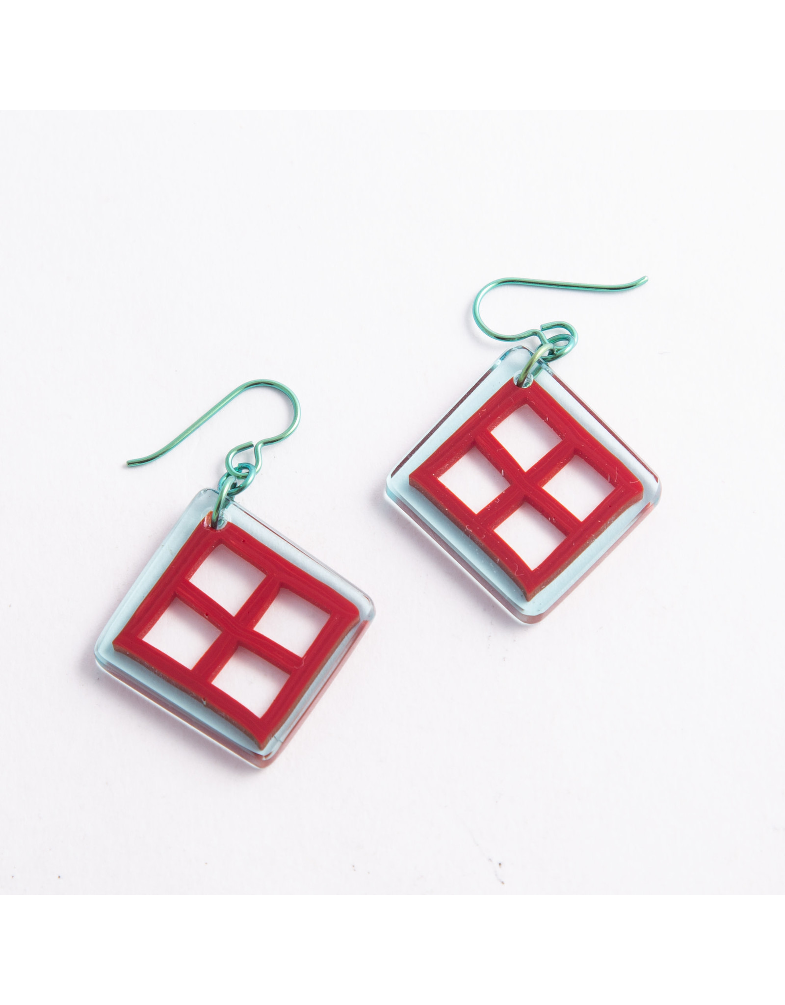 "Gorilla Glass Gorilla Glass Turquoise & Red ""Playground"" Traditional earring"