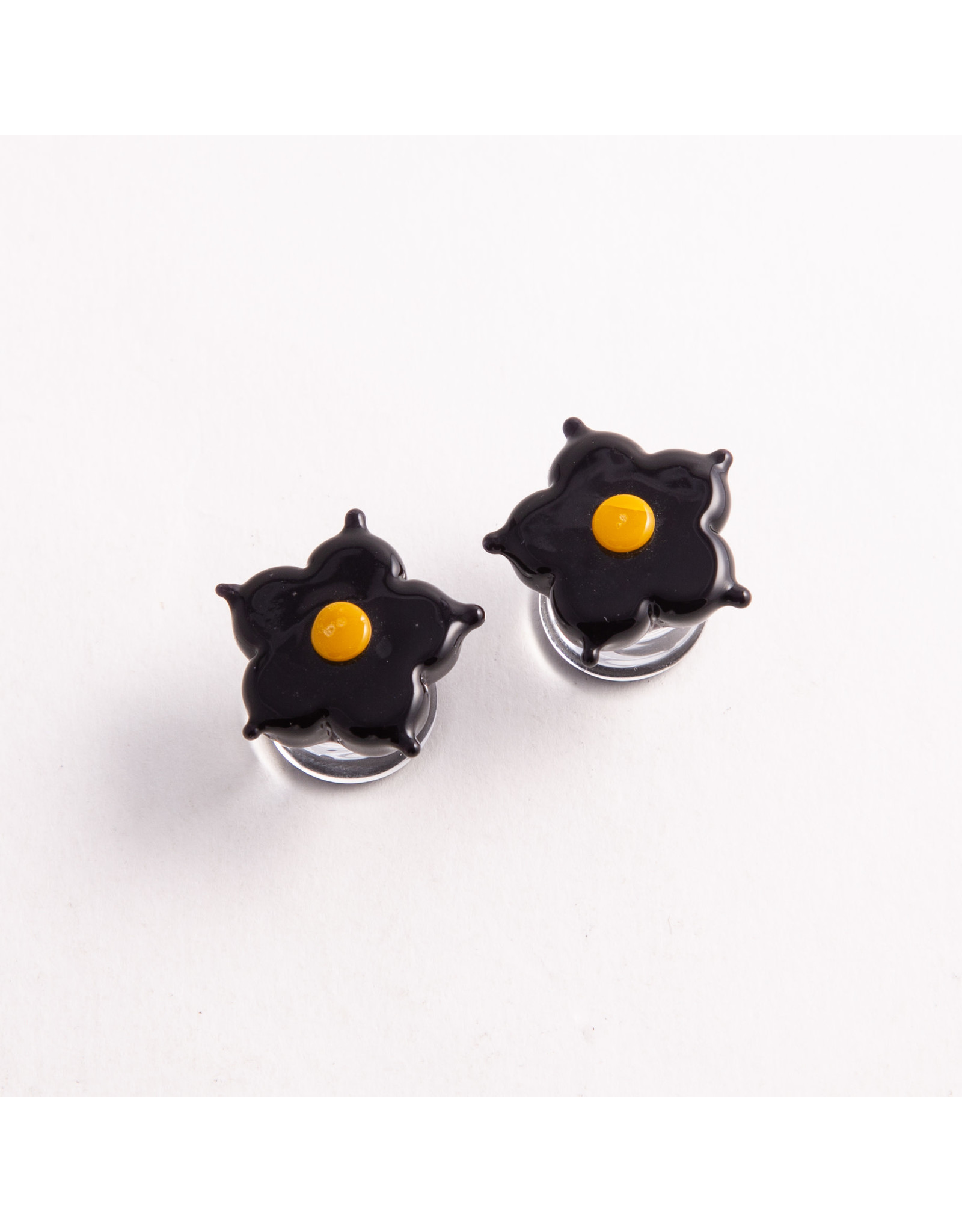 "Glasswear studios Glasswear Studios 1/2 black and yellow  ""Lotus Flower"" double flared plug"