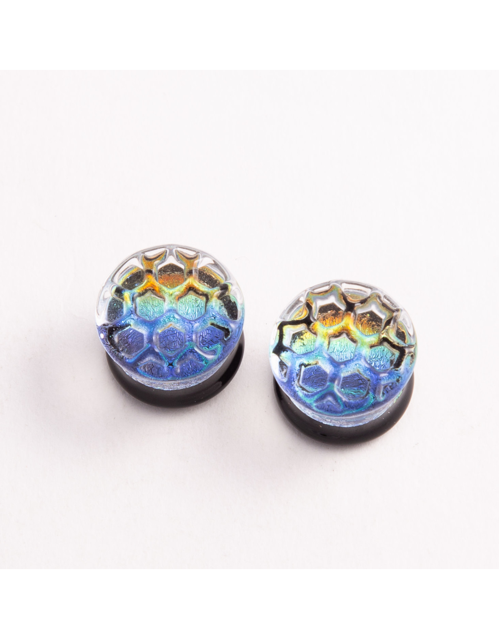 Glasswear studios Glasswear Studios 5/8 rainbow foil with honeycomb texture double flare plug
