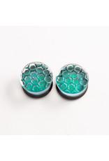 Glasswear studios Glasswear Studios 3/4 green foil with honeycomb texture double flare plug