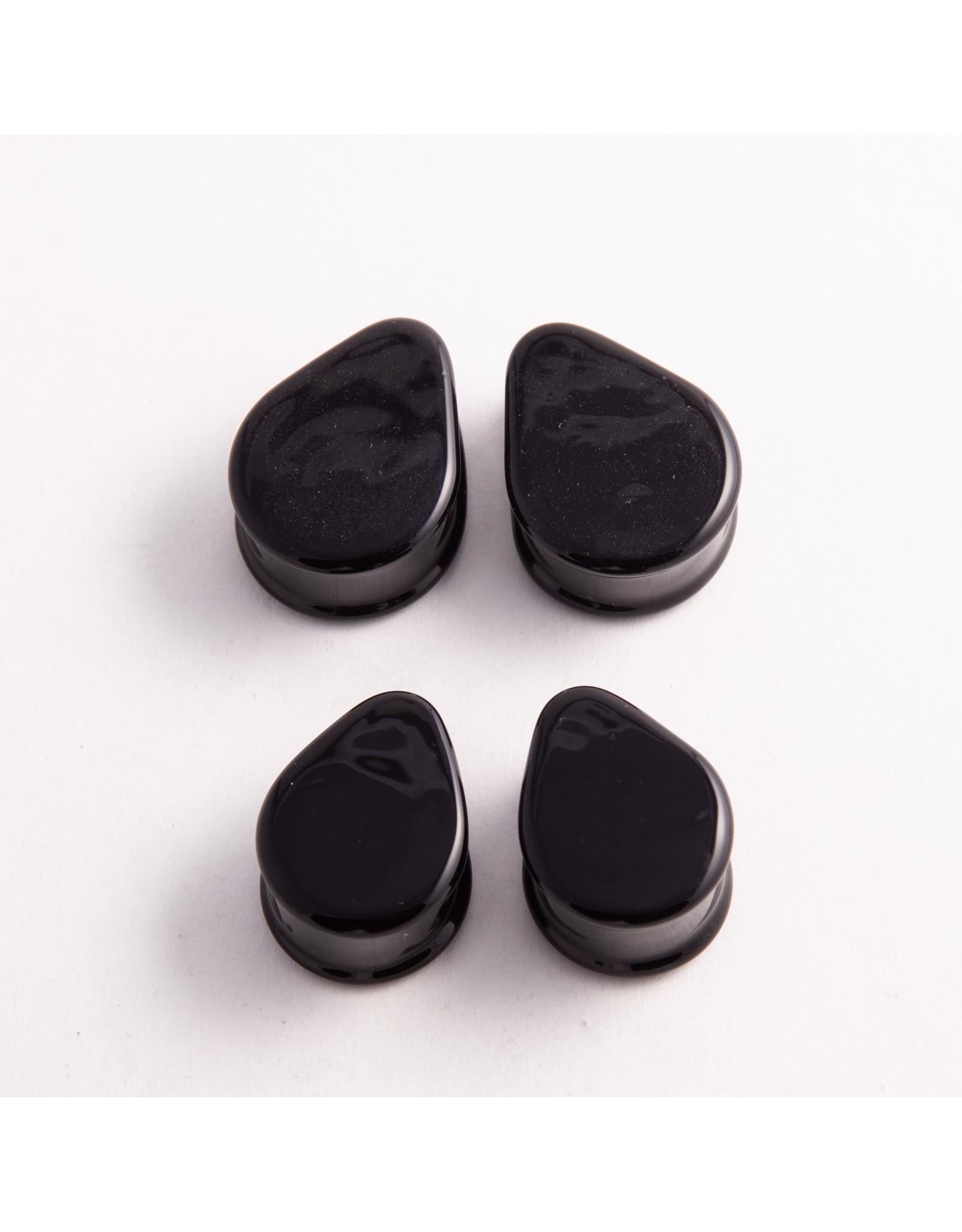 """Glasswear studios Glasswear Studios 1"""" black teardrop double flared plugs"""