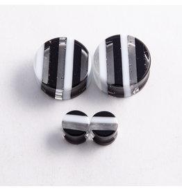 "Gorilla Glass Gorilla Glass 1"" Black & White Striped Plug"