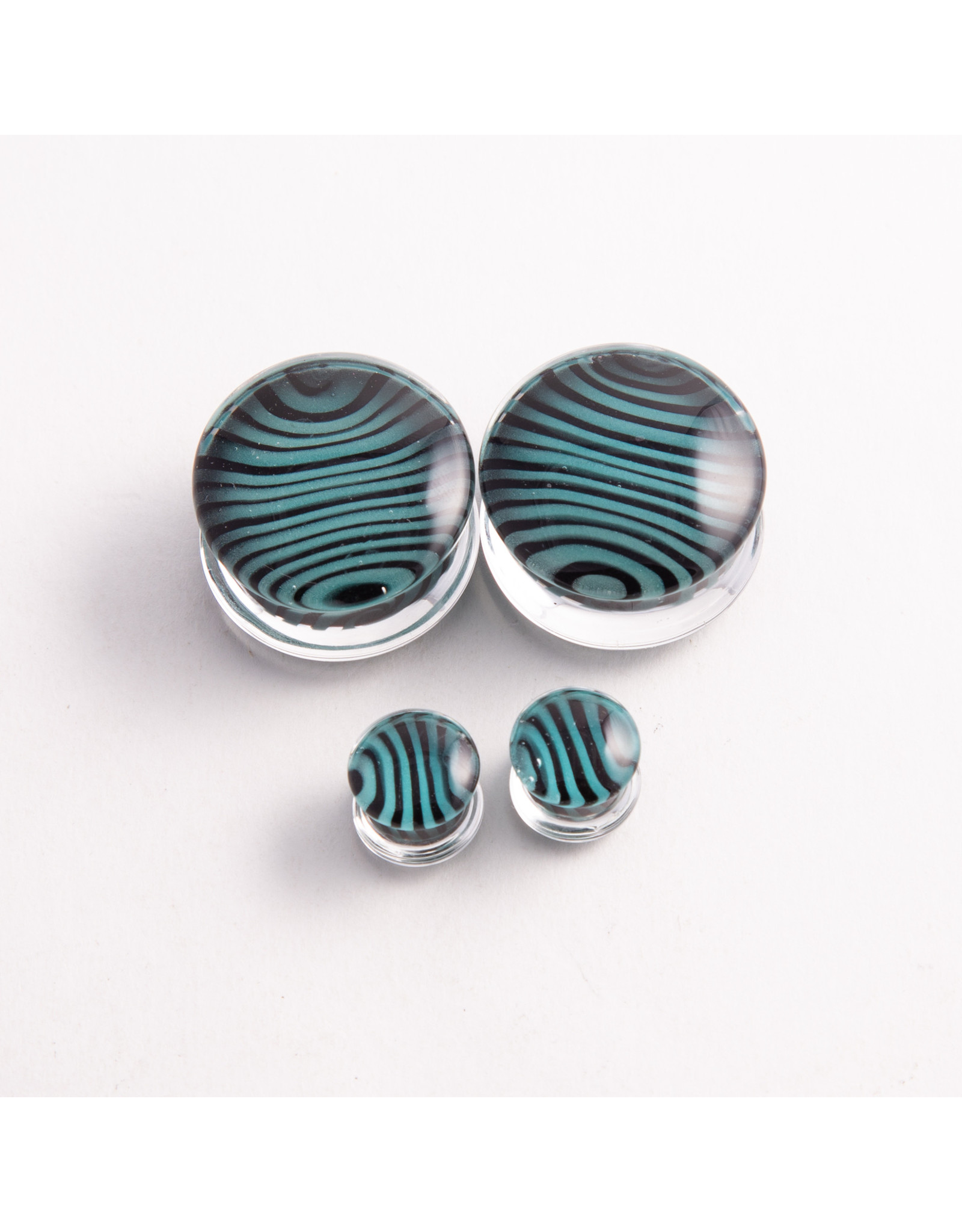 Gorilla Glass Gorilla Glass 1/2 Black & Aqua Tiger Stripe double flared plug