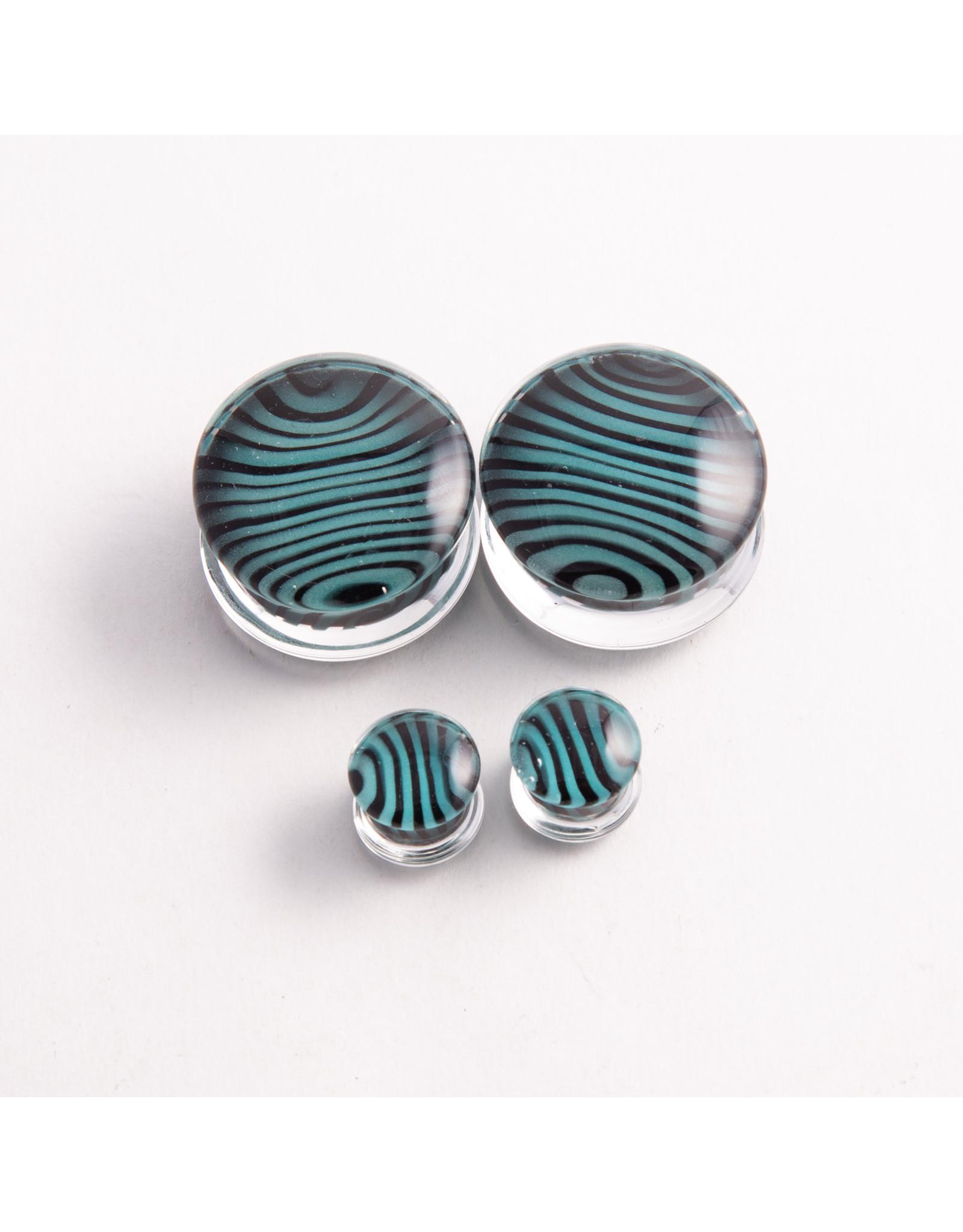 Gorilla Glass Gorilla Glass 5/8 Black & Aqua Tiger Stripe double flared plug