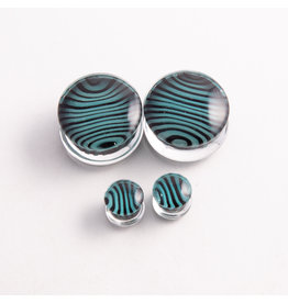 Gorilla Glass Gorilla Glass 7/8 Black & Aqua Tiger Stripe Plug