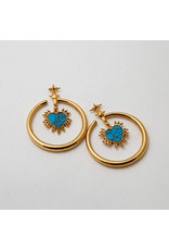"""Maya Jewelry Maya yellow gold plate """"Queen of Hearts"""" with turquoise hanging design"""