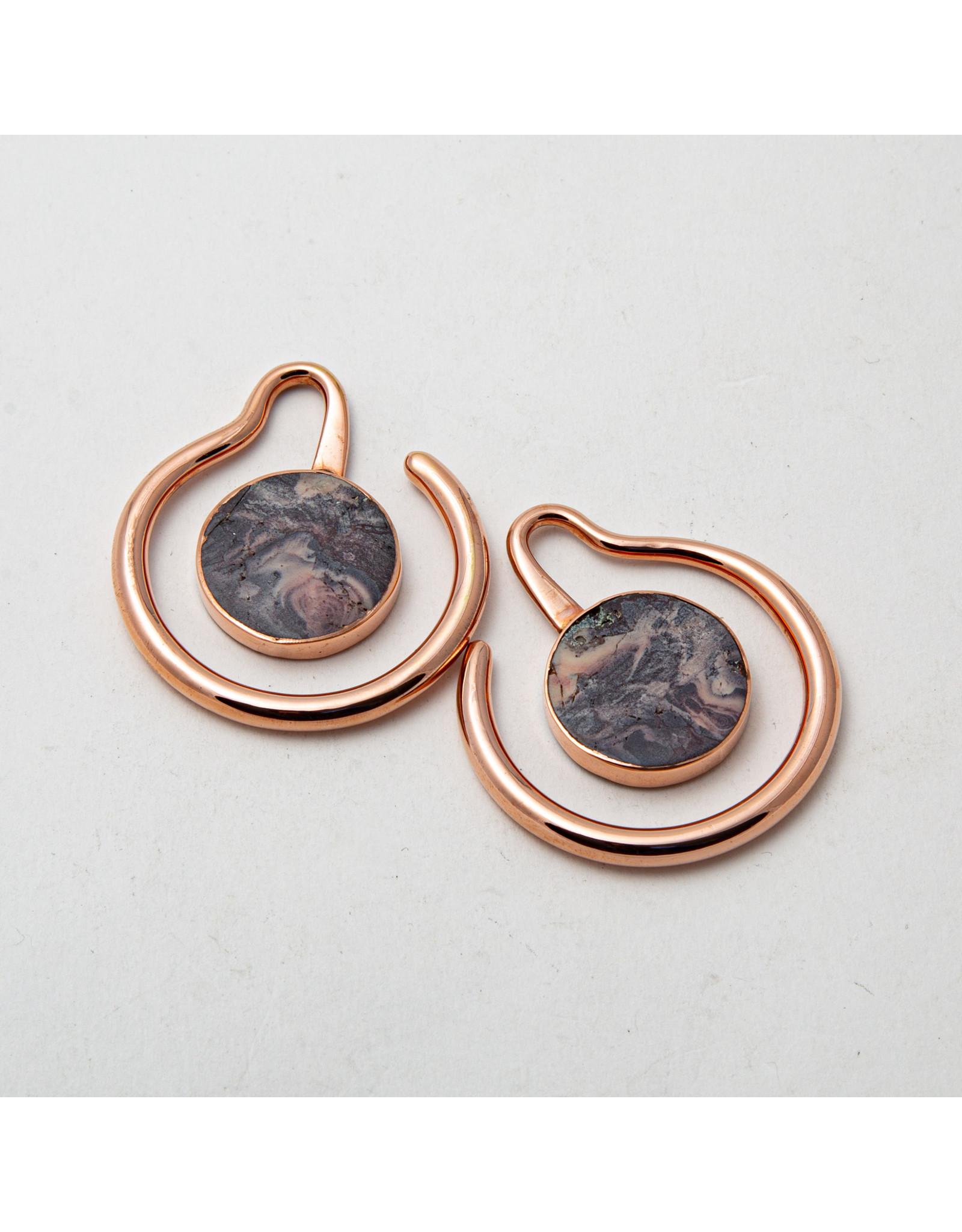 "Maya Jewelry Maya rose gold plate & porcelain jasper ""Eye of the Beholder"" hanging design"