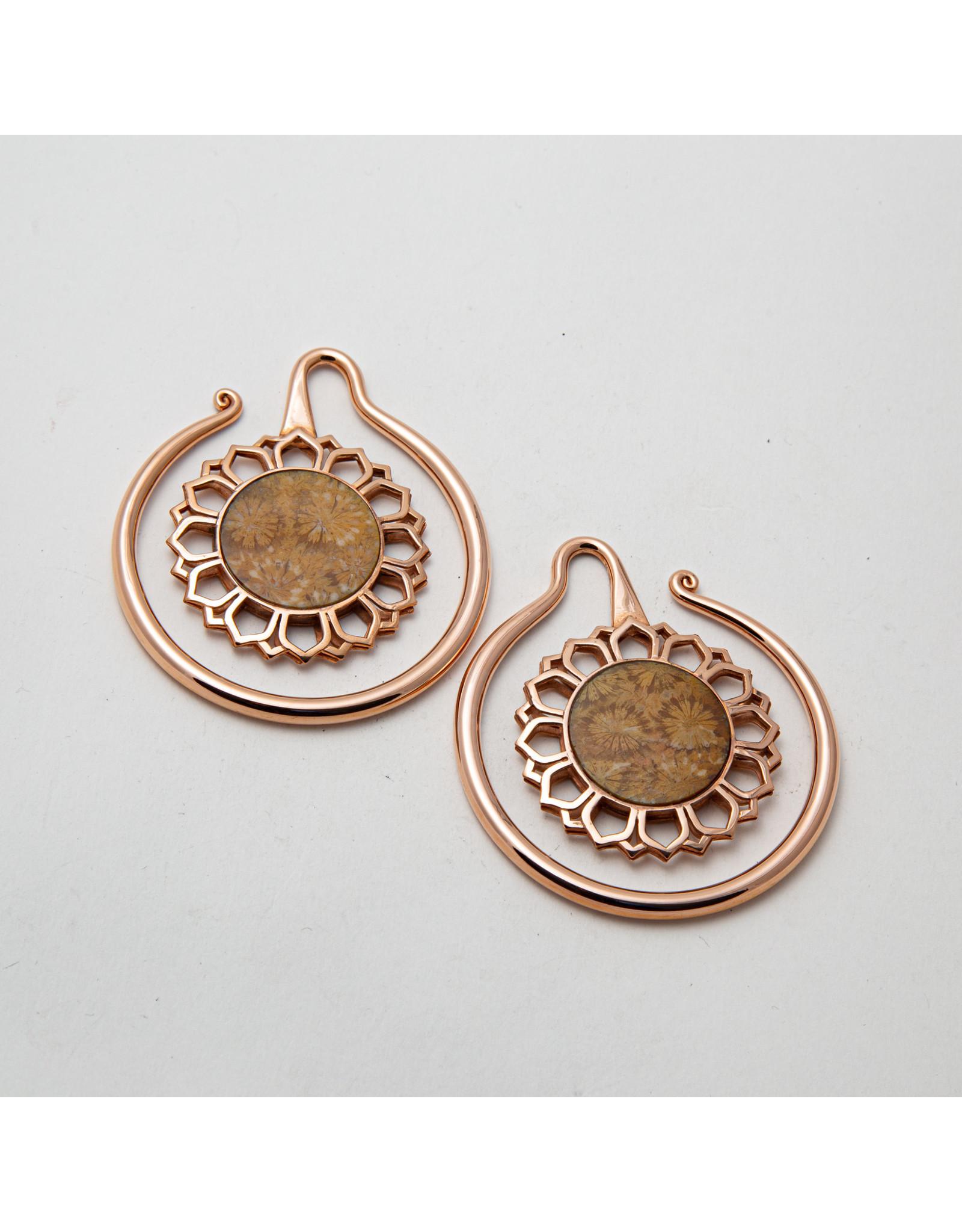 "Maya Jewelry Maya rose gold plate & coral ""Eye of the Dandelion"" hanging design"